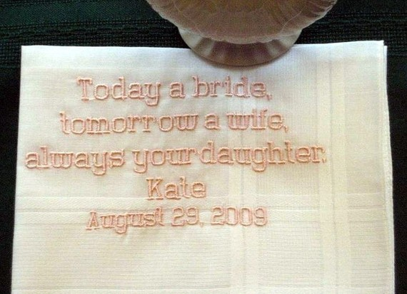 Personalized Wedding Gift -Father of the Bride handkerchief with Gift Box 104B